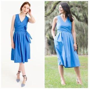 J. CREW Cotton Poplin Wrap Dress A Line Sleeveless